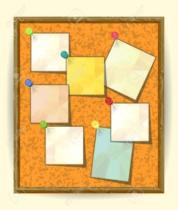 Cork Notice board with Seven Pinned Stick Notes. Blank colored sheets for notes, pinned ready for your text. Post-it notes with pushpins on textured Cork board, Notice board, School bulletin board